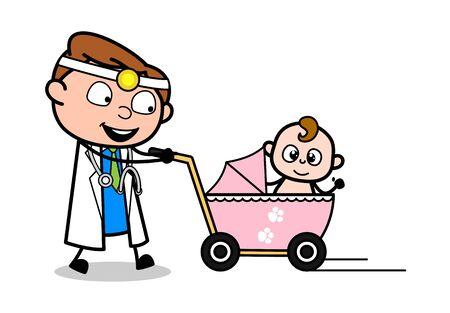 Strolling with Baby - Professional Cartoon Doctor Vector Illustration 版權商用圖片 - 127662929
