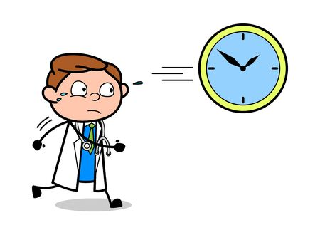 Time Run Out - Professional Cartoon Doctor Vector Illustration