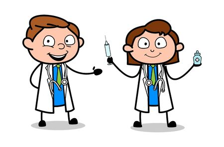 Doctor Giving Medical Tips - Professional Cartoon Doctor Vector Illustration 版權商用圖片 - 127675238