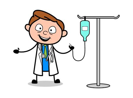Doctor Presenting IV Bottle - Professional Cartoon Doctor Vector Illustration Ilustração