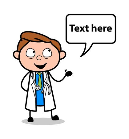 Talking and Gesturing with Speech Bubble - Professional Cartoon Doctor Vector Illustration Ilustração