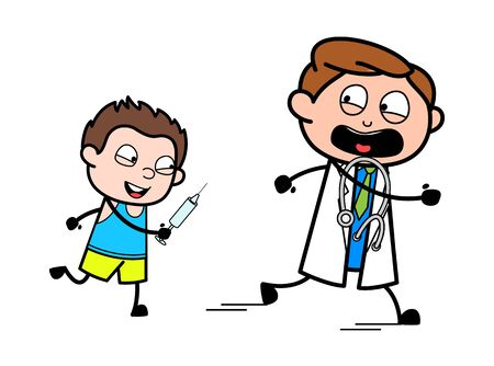 Kid Running Behind the Doctor for Vaccination - Professional Cartoon Doctor Vector Illustration