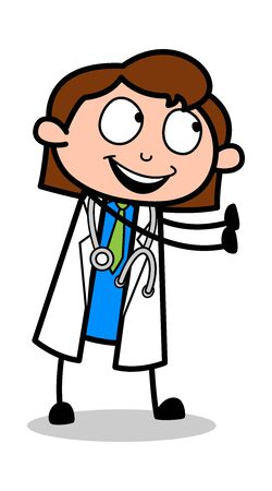 Showing Hands to Stop - Professional Cartoon Doctor Vector Illustration