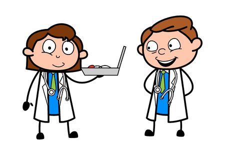 Female Doctor Presenting Medical Equipment to the Doctor for Treatment - Professional Cartoon Doctor Vector Illustration