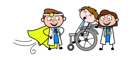 Super Hero Doctor Came to Save Unconscious Patient Life - Professional Cartoon Doctor Vector Illustration