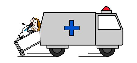 Patient Lying on Stretcher and Taking Him to Medical - Professional Cartoon Doctor Vector Illustration Ilustrace