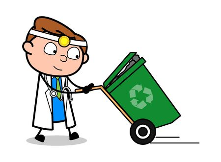 Dragging a Recycle Bin - Professional Cartoon Doctor Vector Illustration