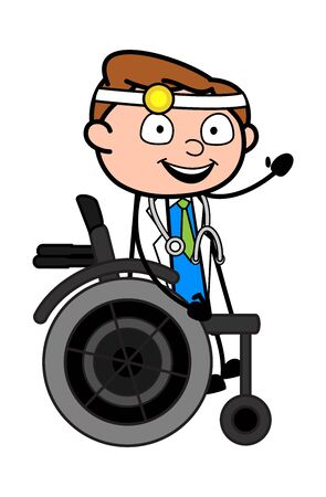 Sitting on Wheel Chair and Hand Gesturing - Professional Cartoon Doctor Vector Illustration