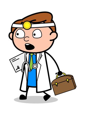 Holding Letter and Briefcase and Watching Surprisingly - Professional Cartoon Doctor Vector Illustration