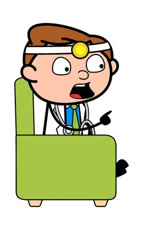Talking with Pointing Finger - Professional Cartoon Doctor Vector Illustration