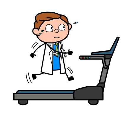 Running on Treeadmill - Professional Cartoon Doctor Vector Illustration