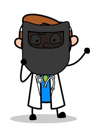 Holding a Welding Shield Mask for Protection - Professional Cartoon Doctor Vector Illustration
