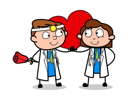 Couple Celebrating Valentines Day - Professional Cartoon Doctor Vector Illustration