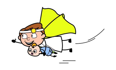 Flying with Baby - Professional Cartoon Doctor Vector Illustration
