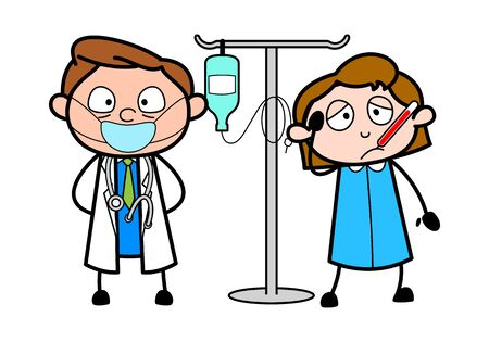 Doctor with Patient and IV Bottle - Professional Cartoon Doctor Vector Illustration