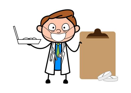 Doctor Holding Box of Medicines and Cardboard - Professional Cartoon Doctor Vector Illustration
