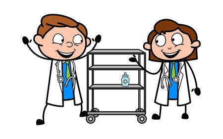Two Doctors are Making Fun - Professional Cartoon Doctor Vector Illustration