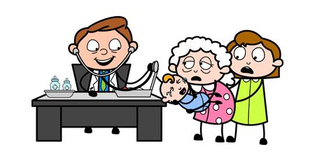 Doctor Doing Checkup of Ill Baby - Professional Cartoon Doctor Vector Illustration