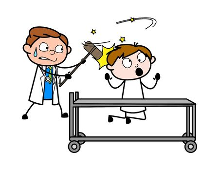 Doctor Hitted on Patient Head - Professional Cartoon Doctor Vector Illustration Ilustração