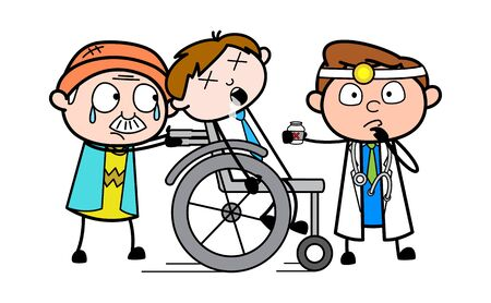 Grandpa Taking the Patient to Hospital and Doctor Analysing - Professional Cartoon Doctor Vector Illustration