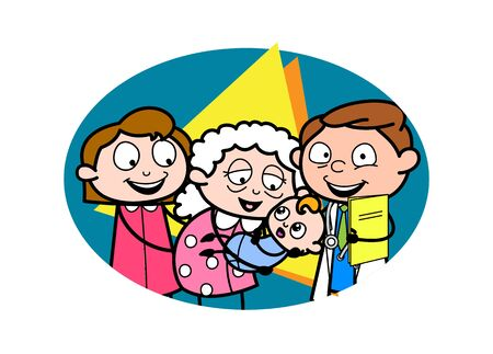 Grandma Getting Excited after Holding a Baby in Her Hands - Professional Cartoon Doctor Vector Illustration