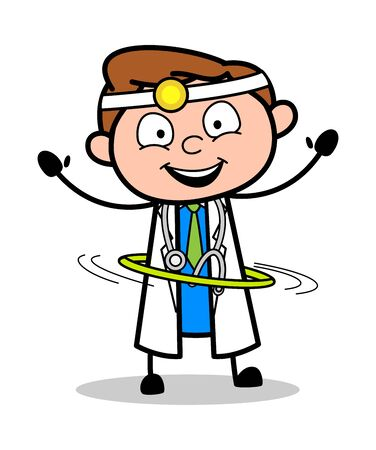 Playing with Hoop - Professional Cartoon Doctor Vector Illustration