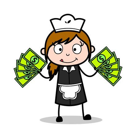 Showing Money - Retro Cartoon Waitress Female Chef Vector Illustration Ilustração