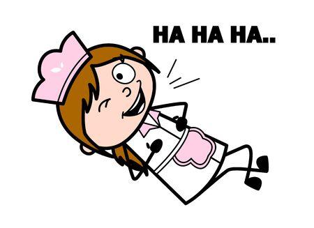 Laughing and Winking Eye - Retro Cartoon Waitress Female Chef Vector Illustration 版權商用圖片 - 127686700