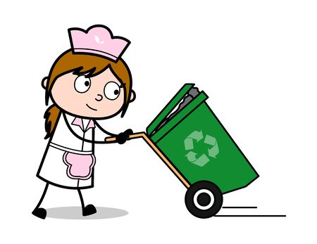 Walking with Recycle Bin - Retro Cartoon Waitress Female Chef Vector Illustration Ilustração