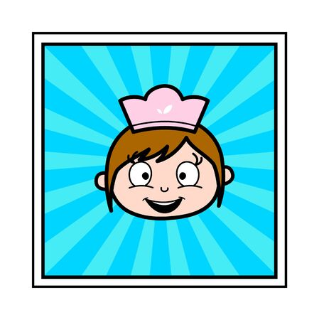 Smiling Face - Retro Cartoon Waitress Female Chef Vector Illustration