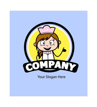Cover Template Design with Female Chef - Retro Cartoon Waitress Female Chef Vector Illustration Ilustração