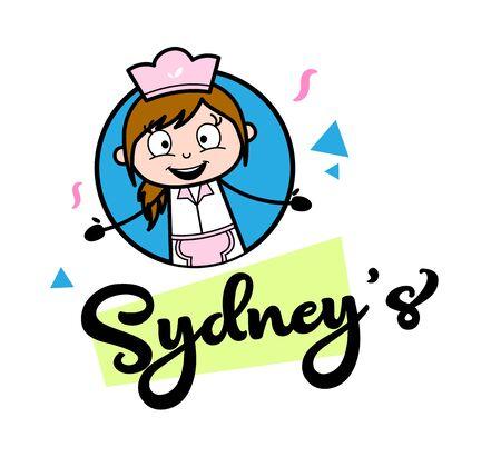 Ad Banner - Retro Cartoon Waitress Female Chef Vector Illustration