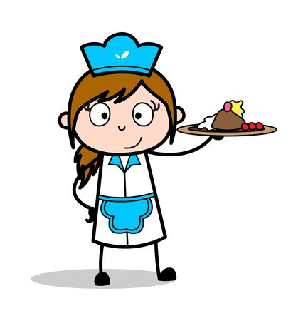 Presenting Sweet Dish - Retro Cartoon Waitress Female Chef Vector Illustration