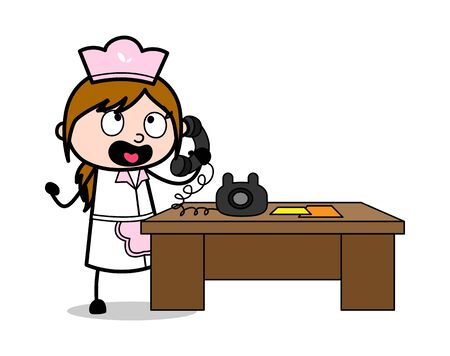 Scolding on Phone - Retro Cartoon Waitress Female Chef Vector Illustration