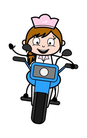 Riding a Bike - Retro Cartoon Waitress Female Chef Vector Illustration