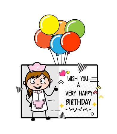 Presenting Birthday Wish Greeting - Retro Cartoon Waitress Female Chef Vector Illustration