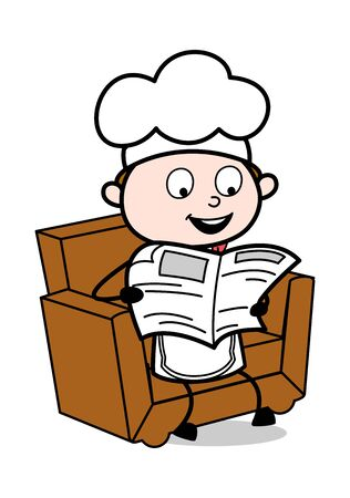Reading Newspaper - Cartoon Waiter Male Chef Vector Illustration
