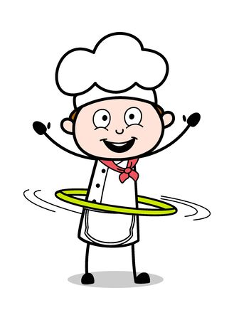 Playing with Hoop - Cartoon Waiter Male Chef Vector Illustration