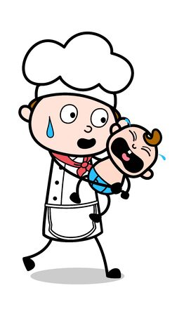 Holding a Crying Baby - Cartoon Waiter Male Chef Vector Illustration