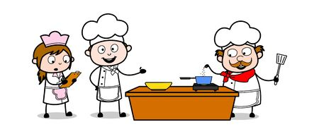 Presenting How to Prepare Food - Cartoon Waiter Male Chef Vector Illustration