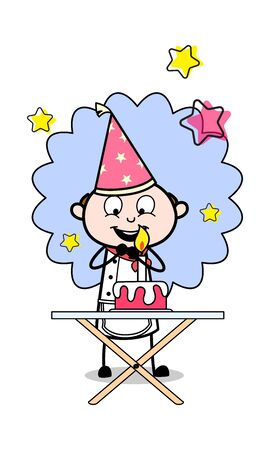 Excited for Celebrate the Birthday - Cartoon Waiter Male Chef Vector Illustration 版權商用圖片 - 127689608