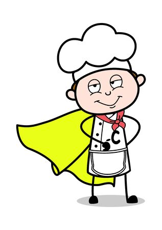 Chef in a Super Hero Costume - Cartoon Waiter Male Chef Vector Illustration