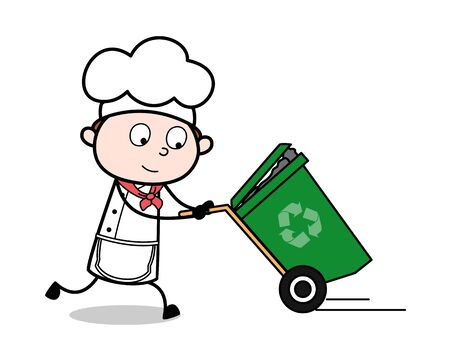 Running with Recycle bin - Cartoon Waiter Male Chef Vector Illustration 版權商用圖片 - 128508358