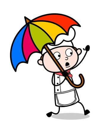 Holding an Umbrella and Running - Cartoon Waiter Male Chef Vector Illustration 向量圖像