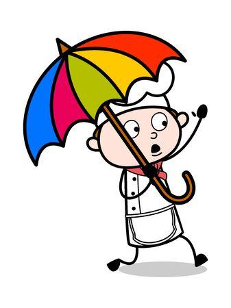 Holding an Umbrella and Running - Cartoon Waiter Male Chef Vector Illustration 版權商用圖片 - 127689600