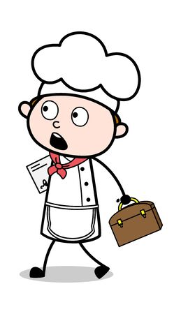 Walking with Briefcase and File - Cartoon Waiter Male Chef Vector Illustration Ilustração
