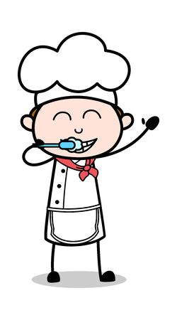 Brushing Teeth - Cartoon Waiter Male Chef Vector Illustration Иллюстрация
