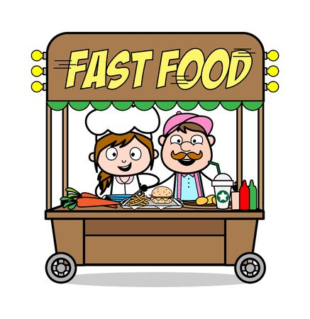 Fast Food Shop - Cartoon Waiter Male Chef Vector Illustration 向量圖像