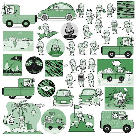 Cartoon Army Man Characters Collection - Set of Concepts Vector illustrations Ilustração