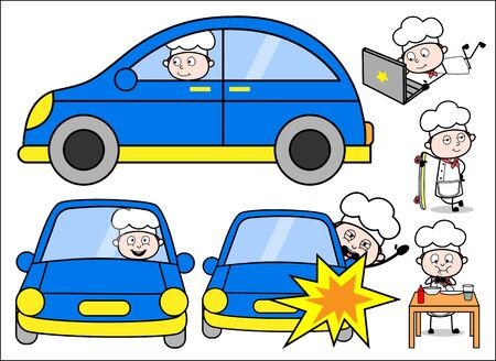 Cartoon Chef with Various Equipments - Set of Concepts Vector illustrations Ilustração